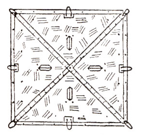 Plan view of a four-man tent