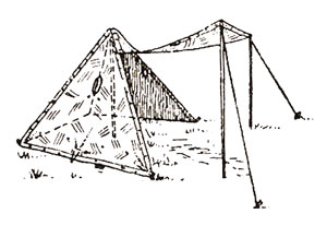 Side view of a four-man tent