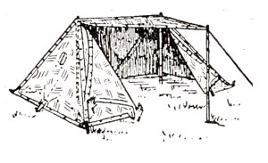 Side view of an eight-man tent